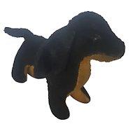 Cute Vintage Primitive Black & Gold Wool Dachshund Dog Stuffed Toy