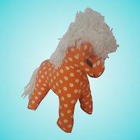 Naive Vintage Folk Art Polka Dot Stuffed Toy Horse