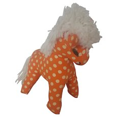 Naive Vintage Folk Art Polka Dot Stuffed Toy Horse