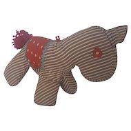 Vintage Naive Folk Art Striped Stuffed Toy Horse
