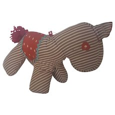 Vintage Naive Folk Art Striped Stuffed Toy Horse