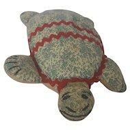 Vintage 1930's-40's Naive Folk Art Stuffed Toy Turtle
