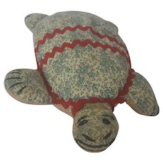 Vintage 1930's-40's Naive Folk Art Stuffed Toy Turtle