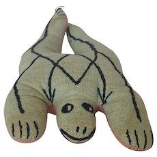 Vintage 1930's-40's Naive Folk Art Stuffed Toy Frog