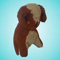 Funky Vintage Brown & White Stuffed Toy Dog with Bell in Ear