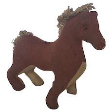 19th C. Naive Primitive Folk Art Smiling Stuffed Toy Horse