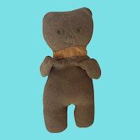 Vintage Super Primitive Folk Art Knit Cotton Sock Teddy Bear