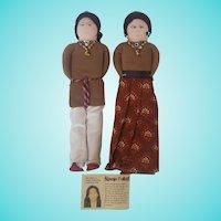 Pair Vintage Folk Art Navajo Dolls Made by Alta Silago
