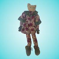 Funky Vintage Folk Art Cat Doll