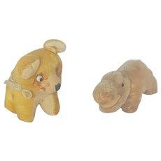 2 Vintage Miniature Mohair Stuffed Toys - Dog & Hippo