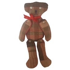 Vintage Naive Folk Art Wool Plaid Articulated Hanging Teddy Bear Whimsy