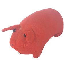Vintage Primitive Folk Art Rag Stuffed Red Pig Toy or Pin Cushion