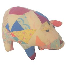 Vintage Primitive Pig Stuffed Toy Made from Old Quilt