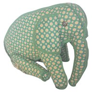 Vintage Folk Art Polk Dot Articulated Elephant Stuffed Toy