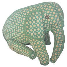 Vintage Folk Art Polk Dot Articulated Elephant Stuffed Toy