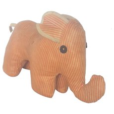Vintage Folk Art Striped Oilcloth Elephant Stuffed Toy