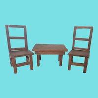 Vintage Depression Era Primitive Folk Art Toy Farm Table & 2 Chairs