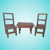 Vintage Super Primitive Folk Art Toy Farm Table & 2 Chairs