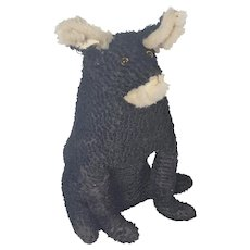 """Large 16"""" Vintage Naive Folk Art Black and White Curly Mohair Dog Stuffed Toy"""