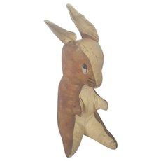 Vintage Folk Art Oil Cloth Bunny Rabbit Stuffed Toy