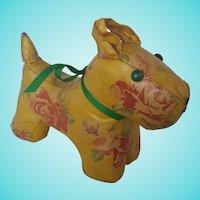 Adorable Vintage Folk Art Floral Oilcloth Dog Stuffed Toy