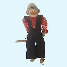 Cute Vintage 1930's Folk Art Dressed Up Sock Monkey