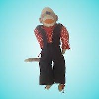 Cute Vintage 1930's Handmade Dressed UP Sock Monkey
