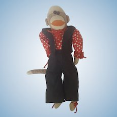 Cute Vintage 1930's Handmade Dressed UP Sock Monkey