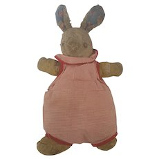 Vintage Depression Era Super Primitive Make-Do Rabbit Stuffed Toy