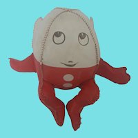 Cute Vintage Red & White Humpty Dumpty Stuffed Toy