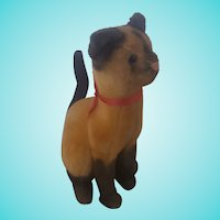 Vintage Painted Mohair Siamese Cat Stuffed Toy