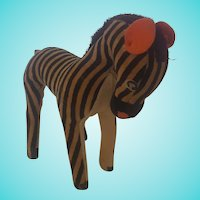 Vintage Mid-20th C. Black & Cream Striped Velveteen Zebra Stuffed Toy #1