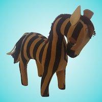 Vintage Mid-20th C. Black & Cream Striped Velveteen Zebra Stuffed Toy #2
