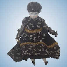 Beautiful Vintage Black Haired China Porcelain Doll