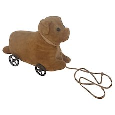 Late 19th C. Primitive Straw Stuffed Mohair Dog Toy on Wheels