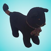 Vintage Primitive Folk Art Black Cat Stuffed Toy