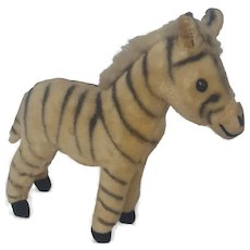 Adorable Vintage Painted Mohair Zebra Stuffed Toy