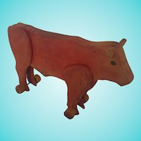 Vintage Texas Folk Art Red Cow Pull Toy