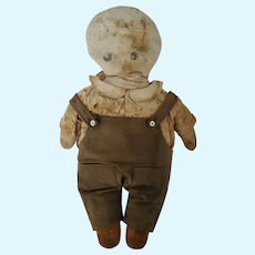 Antique Late 19th C. Well Loved Folk Art Boy in Overalls Rag Doll