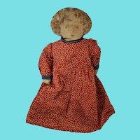 Antique Late 19th C. Well Loved Folk Art Girl in Red Dress Rag Doll