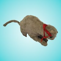 Antique Well Loved Gray  Mohair Cat Stuffed Toy