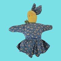 Vintage 1930's-40's Folk Art Bunny Rabbit Stuffed Toy Doll