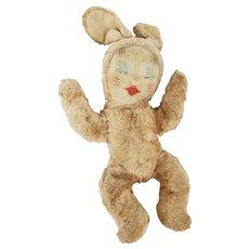 Vintage Faux Fur Sleeping Bunny Rabbit Stuffed Toy
