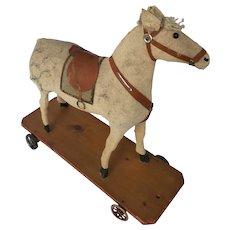 Vintage German Felt  Covered Papier Mache Dapple Horse Pull Toy