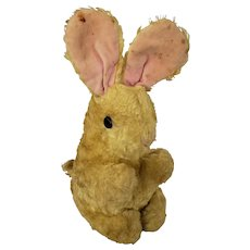 Vintage Primitive Yellow Bunny Rabbit Stuffed Toy