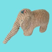 Vintage Primitive Folk Art Pink Chenille Elephant Stuffed Toy