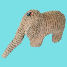 Vintage Primitive Folk Art Pink Chenille Elephant Stuffed Toy
