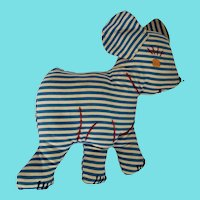 Vintage Near Mint Folk Art Striped Dog Stuffed Toy