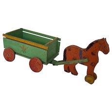 Vintage Handmade Folk Art Horse & Wagon Toy w/ Carrot Design