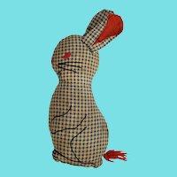 Cute Vintage Folk Art Blue Gingham Bunny Rabbit Stuffed Toy